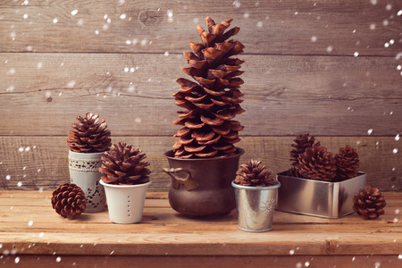 composition art: Pine corn decoration for Christmas table setting Stock Photo