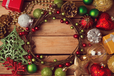 red star: Christmas background with Christmas wreath and decorations Stock Photo