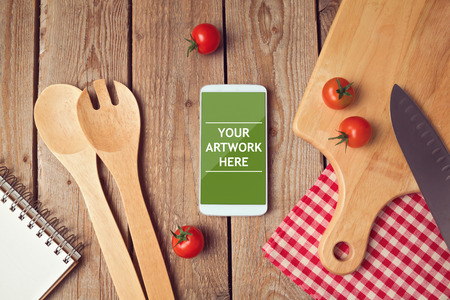 website header: Smartphone mock up template for cooking apps display Stock Photo