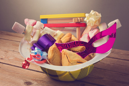 hamantaschen: Purim holiday gifts with hamantaschen cookies and candy