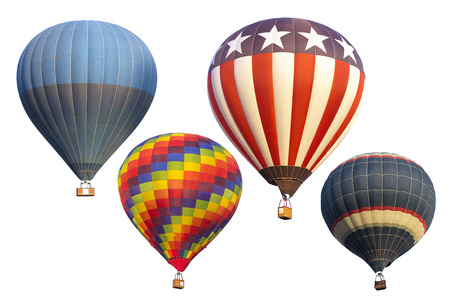 hot summer: Hot air balloons isolated on white background