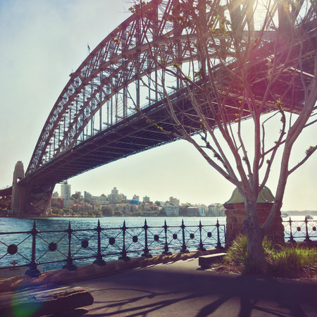 harbour: Sydney Harbour Bridge with retro filter effect. Sydney, Australia