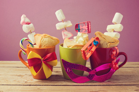 jewish holiday: Jewish holiday Purim traditonal gifts with hamantaschen cookies and candy
