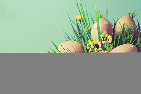 papiermache: Easter eggs decoration with retro filter effect