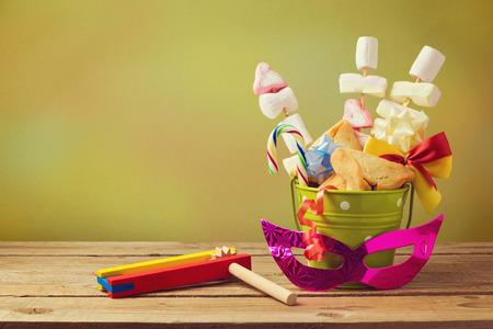 hamantaschen: Jewish holiday purim gift with hamantaschen cookies in bucket