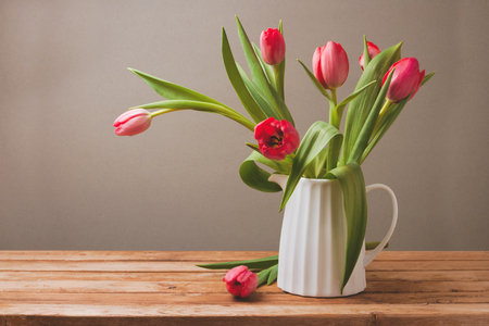 tulips in vase: Tulip flower bouquet for Mothers Day celebration