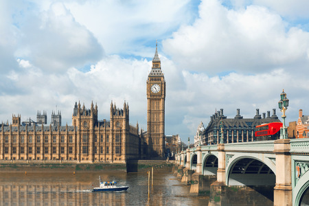 river bank: Big Ben and Houses of Parliament in London, UK Stock Photo