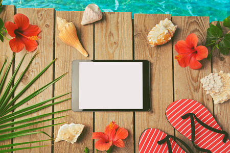 overhead view: Summer holiday background with digital tablet. View from above Stock Photo