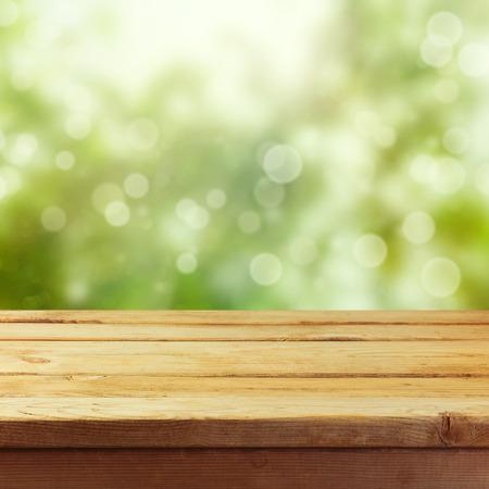 木製テーブル製品モンタージュ表示用テンプレート背景モックアップ 写真素材