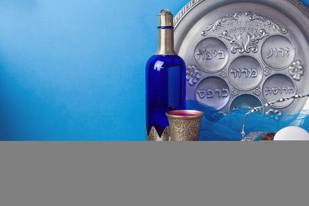 jewish holiday: Jewish holiday Passover background with matzo and wine