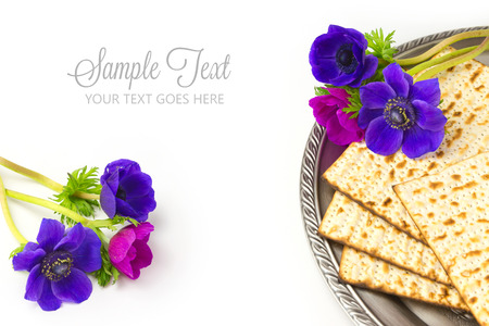 jewish food: Jewish holiday passover matzo on white background