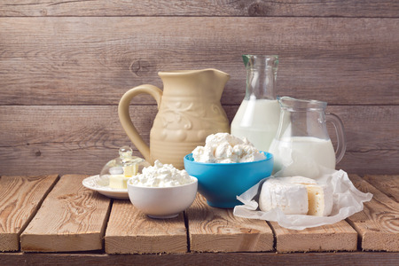 Dairy products on wooden rustic background