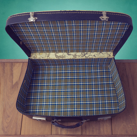 open suitcase: Open vintage suitcase. View from above Stock Photo