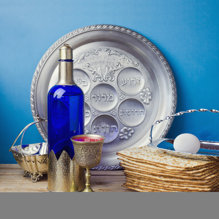 matzoth: Jewish holiday Passover celebration with matzo and wine Stock Photo