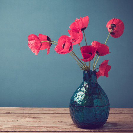 Poppy flower bouquet with retro filter effect
