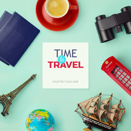 design objects: Travel concept mock up design. Objects related to travel and tourism around blank paper. View from above