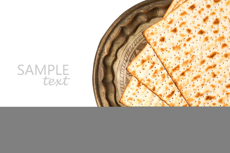 plate: Matzo on vintage plate for passover holiday isolated on white background Stock Photo