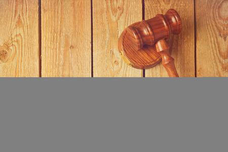 goverment: Judge gavel on wooden vintage background Stock Photo