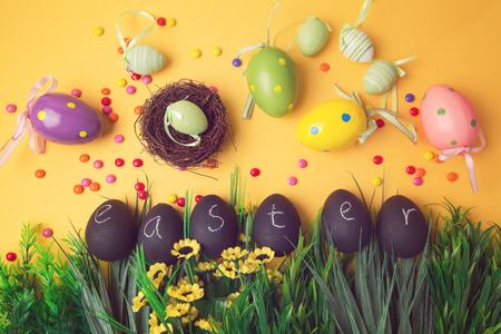 papiermache: Easter holiday background with decorations and ornament Stock Photo
