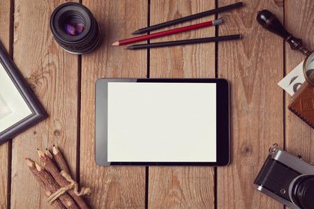 Digital tablet mock up for artwork or app design presentation. View from above