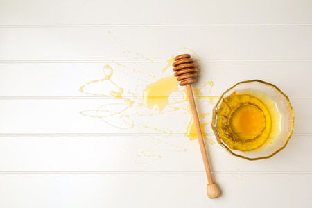 jewish home: Honey on white table. View from above
