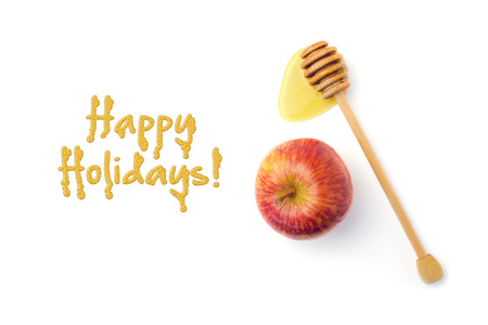 honey apple: Jewish New Year holiday greeting card design with apple and honey wooden stick