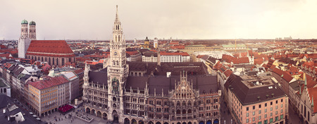 Panorama of Munich, Germany. Retro filter effect