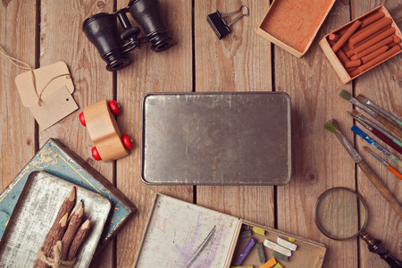 pencil box: Vintage metal box mock up for design presentation. View from above Stock Photo