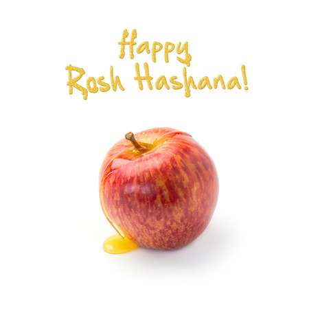 jewish new year: Jewish New Year holiday greeting card design with apple and honey on white background