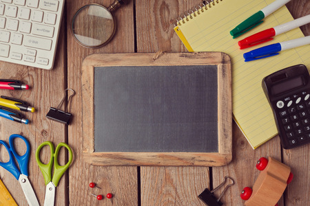 school website: Back to school background with chalkboard. View from above