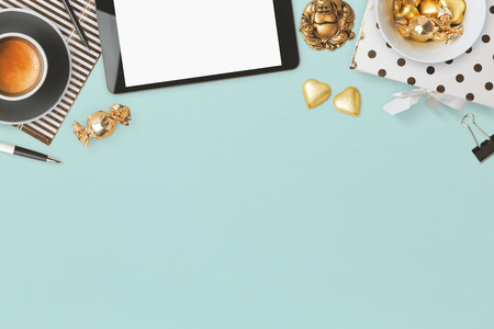 Website header design with feminine glamour objects over blue background Stock Photo