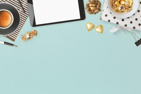 modern background: Website header design with feminine glamour objects over blue background Stock Photo