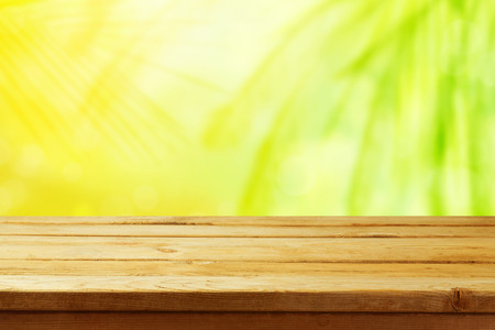 ourdoor: Abstract summer nature background with wooden table