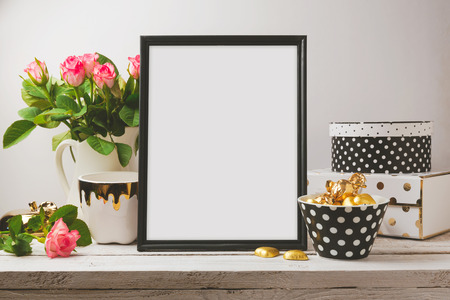 mockup: Poster mock up with glamour and elegant objects