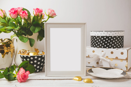feminine: Picture frame poster template mock up with glamour and elegant feminine objects Stock Photo