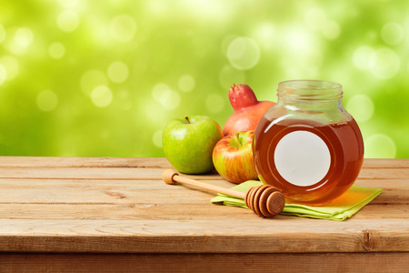 torah: Jewish holiday Rosh Hashana (new year) celebration with honey Stock Photo