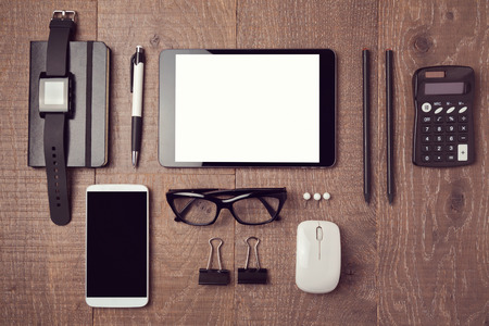 Modern office desk with gadgets. View from above Archivio Fotografico