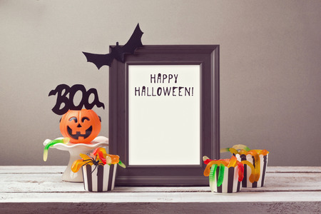 mockup: Halloween poster mock up template with candy