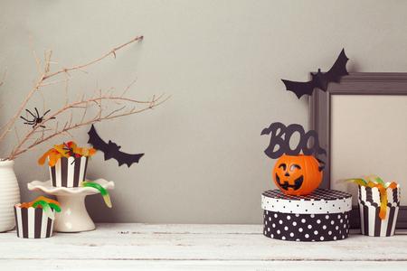 Halloween website header ontwerp met kopie ruimte Stockfoto