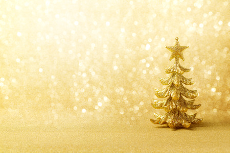 golden: Golden Christmas background with tree ornament