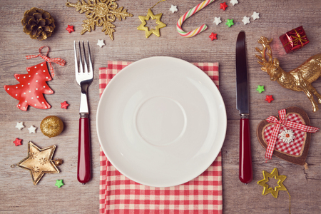 decors: Christmas dinner background with rustic decorations. View from above