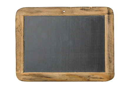 Vintage chalkboard with wooden frame isolated on white background 免版税图像