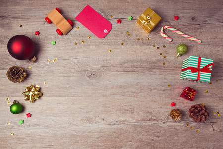 christmas backdrop: Christmas website header design with rustic decorations. View from above