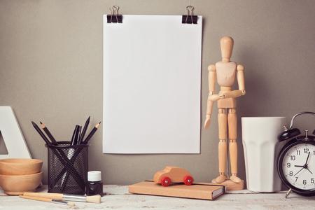item: Designer artistic desk website header hero image with blank poster mock up