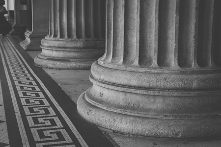 britan: Column detail close up in black and white