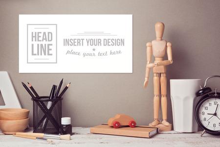 design objects: Website header or hero image design with designer desk objects