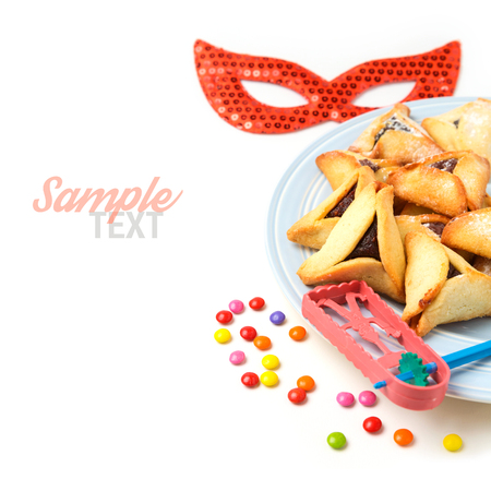 Hamantaschen cookies for Jewish holiday Purim on white background Archivio Fotografico