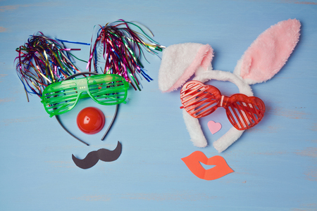 purim mask: Carnival  background with funny party costumes. View from above Stock Photo