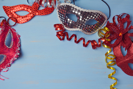 purim mask: Canival  background with mask. View from above Stock Photo