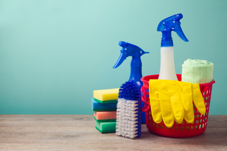 cleaner: Cleaning concept with supplies Stock Photo